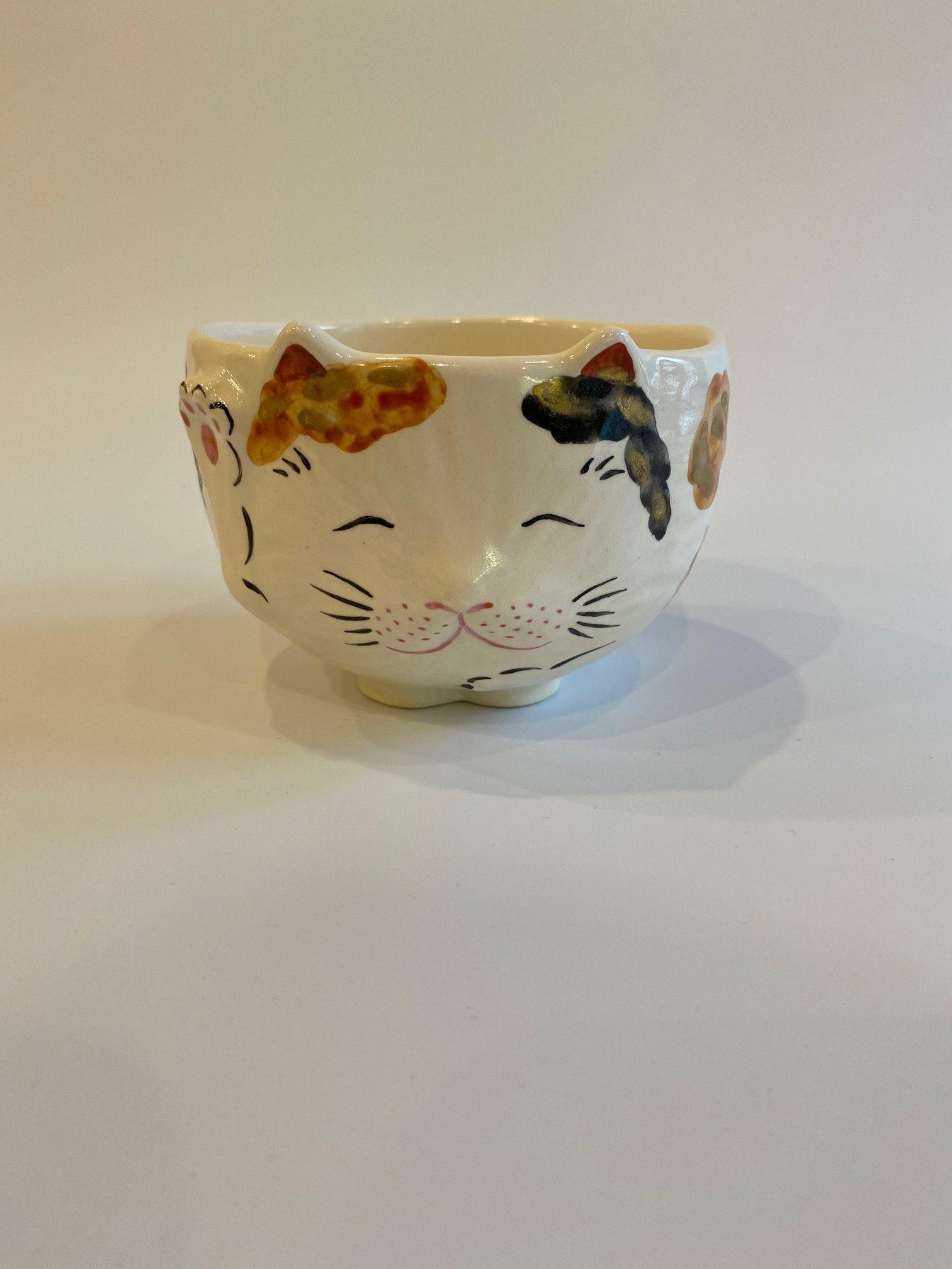 招き猫茶碗